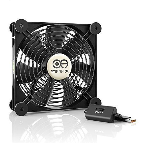 AC Infinity MULTIFAN S4 Quiet 140mm USB Fan for Receiver DVR Playstation Xbox