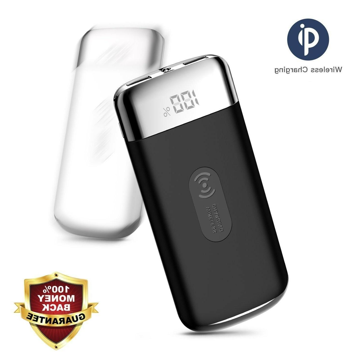 POWERNEWS 900000mAh Power Bank Qi Wireless Charging USB Port