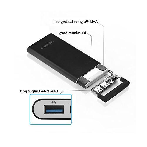 Poweradd Pilot Dual USB External Battery Pack Fast Charge With Technology Plus 5S 5, Samsung S5 S4 S3 3 2, M9, Motorola, Nexus, Blackberry, and -