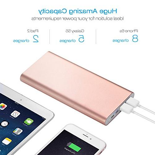 Poweradd Pilot 4GS 20000mAh Power Bank for iPhone, iPad, LG, and - Gold
