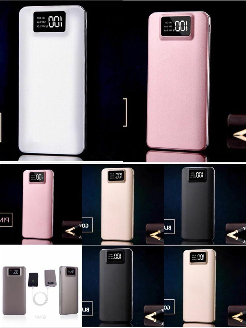 Portable 50000mAh LCD Power Bank External 2 USB Battery Charger For Cell Phone