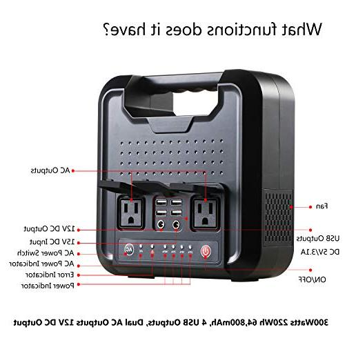 Portable AC Power Bank, 300Watts 220Wh Pure Power Mini Generator, Power Charger, Packs AC Outlet, DC for Emergency Backup