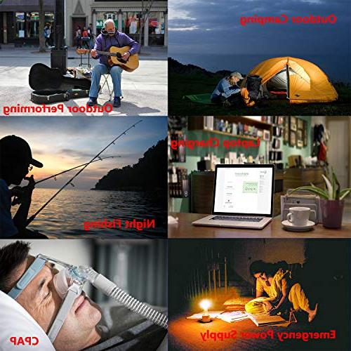 Portable 300Watts SineWave Power Power Charger, Battery Packs 110V AC Outlet, 12V DC for Camping, Traveling, Backup