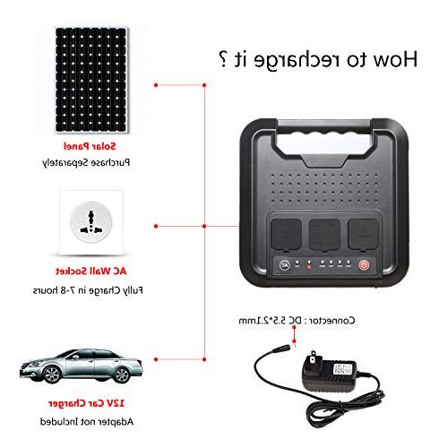 Portable 300Watts Pure Power Mini Power Charger, Packs 110V for Camping, Emergency Backup