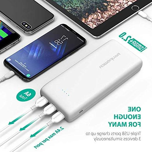 Portable Charger 32000 RAVPower 32000mAh Power 6A Output, External USB Pack for iPhone More