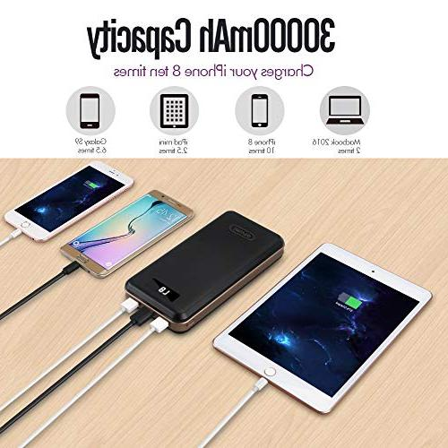 iMuto 30000mAh X6, 3-Port USB Output Power Packs for iPhone 7 Samsung Galaxy S8, Note 8, Tablets