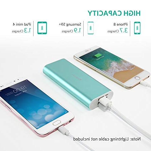 Portable Charger 10000mAh, Dual External Cell Phone Battery Backup iPhone 8 7, Samsung Smartphone More Green