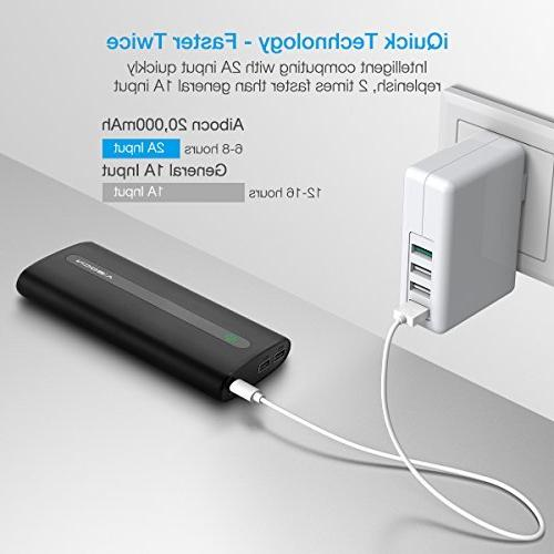 Aibocn Portable Charger External with Phone iPad Smartphones Tablet Black