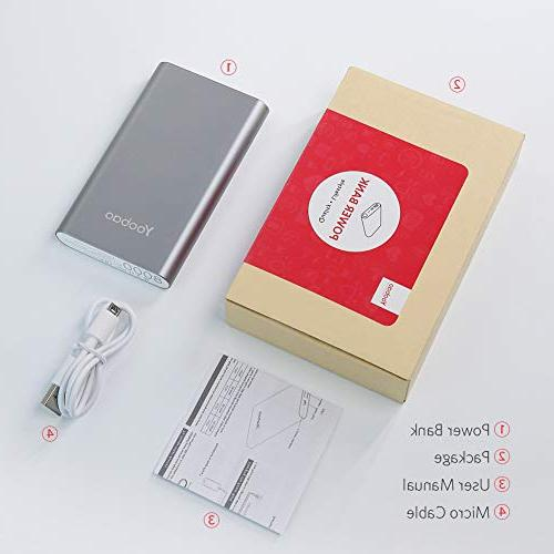 Yoobao Portable Input Powerbank External Cellphone Backup Pack Compatible iPhone 8 Android Smartphone etc- Gray