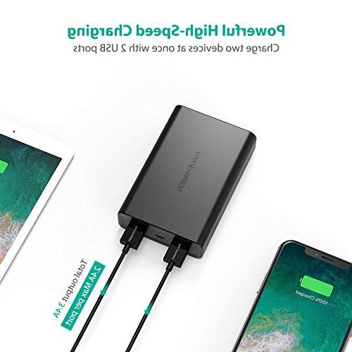 Portable 10000mAh Power Pack with 3.4A Output, High Charging, iSmart Ports, iPhone,