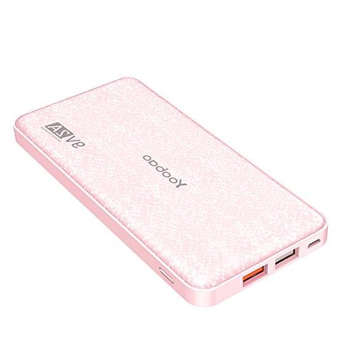 Yoobao Portable Charger Ultra Slim Q12 Quick 3.0 External Pack Fast Powerbank Samsung S8/S8+ Huawei More-Pink