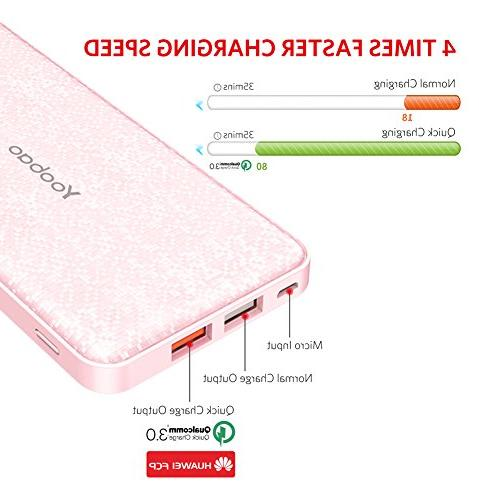 Yoobao Portable Ultra Q12 3.0 Fast Charge Compatible Samsung X/8/8+ Huawei Google LG and More-Pink