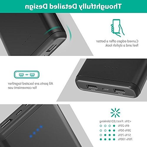 Portable USB External Pack Dual iSmart Ports, Max 2A iPhone, Galaxy Devices