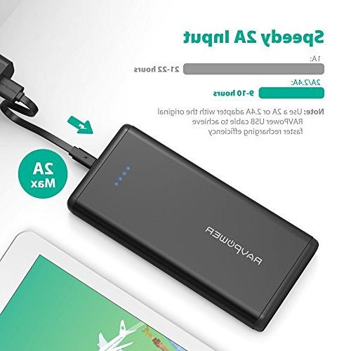 Portable USB External Battery Pack Dual iSmart Ports, 2A Input iPhone, iPad, Galaxy Devices
