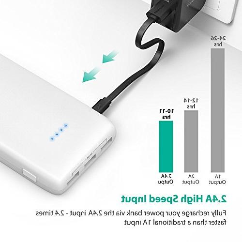 RAVPower 22000mAh Pack 22000 Power Bank 5.8A Output 3-Port Charger for Smartphone