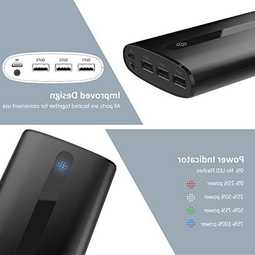 Todamay Ultra-Portable External Battery 2.1A Port, LED 3 Charging Ports for Smartphone&Other Device, Black