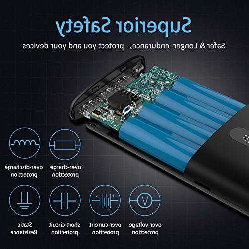 Todamay Power Bank Ultra-Portable Charger External Battery 2.1A Port, LED Lights Ports for Smartphone&Other Black