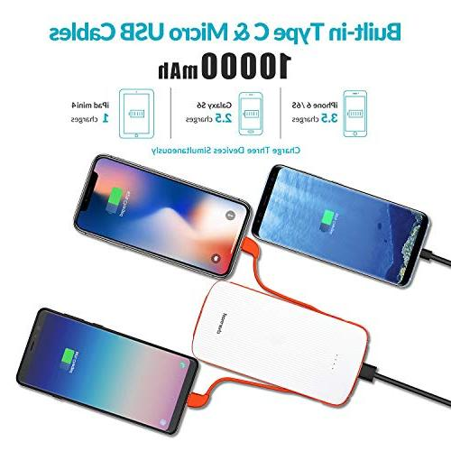 10000mAh Bank with Built-in Type Micro USB Cable, Charmast External Pack for iPhone Android Phones