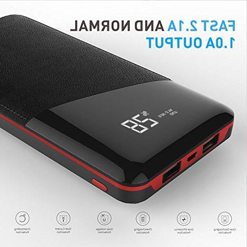 Power Bank, Phone External Battery 2.1A Port, 2 Charging Ports Smart and