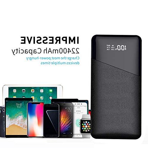 Power Bank, Portable Phone Battery LCD Screen, 2 Ports Smart Tablets Other Devices, Black