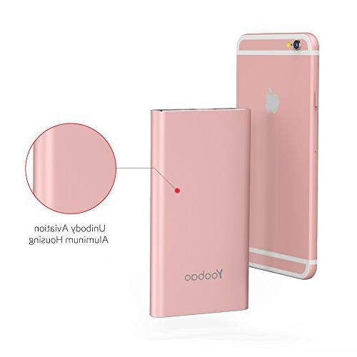Yoobao Charger 10000mAh Slim External Cell Backup Battery with Dual Compatible Plus Android More - Rose