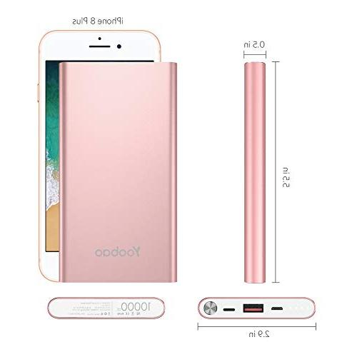Yoobao Portable Charger 10000mAh Slim Power External Backup with Dual Input iPhone Plus More Rose Gold