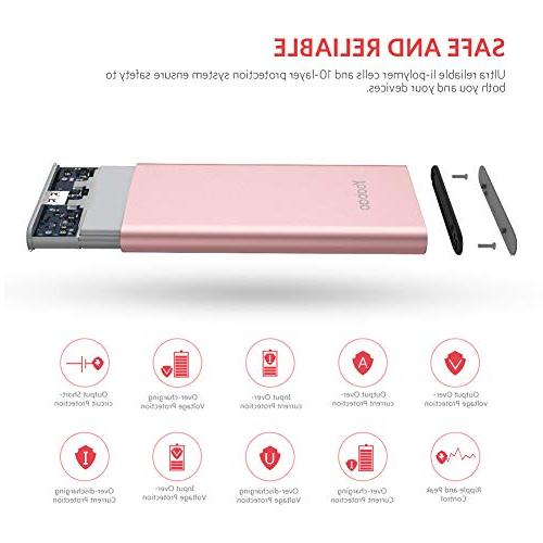 Yoobao 10000mAh Slim Bank External Cell Phone Backup Pack with Dual Input Compatible iPhone 8 7 Plus More Rose Gold