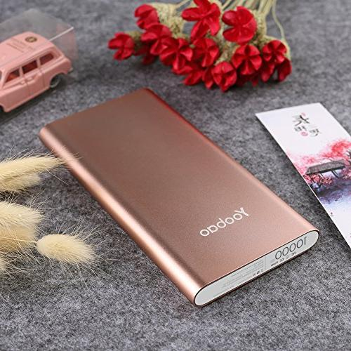 Yoobao 10000mAh Slim Bank External Cell Backup Charger Pack with Input Plus Android More - Rose Gold