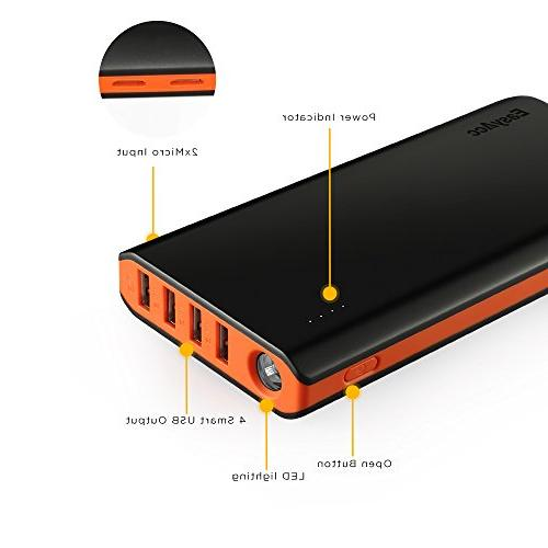 EasyAcc Fast Recharge with 2-Port 4.8A Capacity Battery for iPhone iPad Samsung Android Black Orange