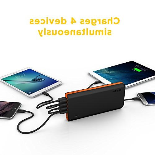 EasyAcc Fast Recharge Power Bank with 4A 2-Port 4.8A Capacity for iPad Android - Orange
