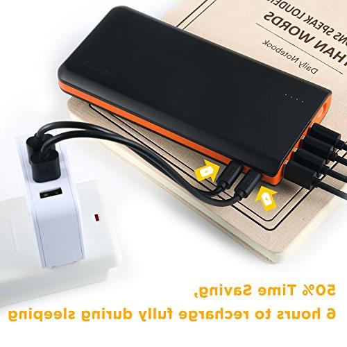 EasyAcc 20000mAh Fast Recharge with 4A 2-Port 4.8A Output High for iPad Android - Black and Orange