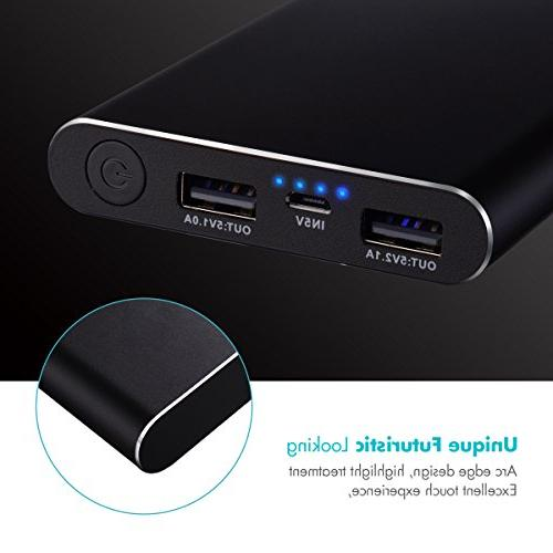 Tqka 10000mAh One The Chic Attractive Portable Chargers, Dual Brilliant Battery for iPhone, Tablets and More Black