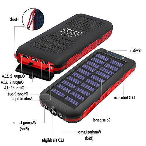 Power 25000mAh Capacity Solar Water-Resistant Ports Battery SOS Outdoor More
