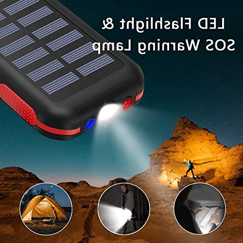Power Capacity Portable Water-Resistant Output Battery Pack LED Flashlight SOS Outdoor Smartphone,Tablet More