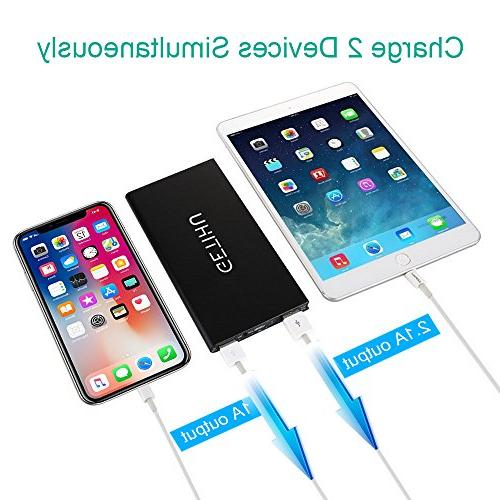 GETIHU Charger Portable Power Slim LED External Thin 2 for iPhone 7 6 Plus Samsung Android