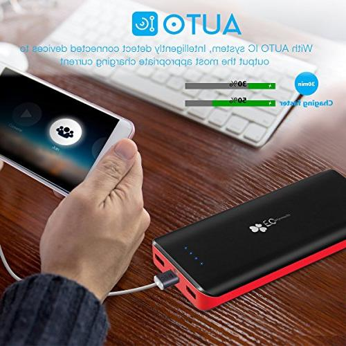 EC Technology Power Bank Ultra High pack Output Port charger iPhone, & More, Black& Red