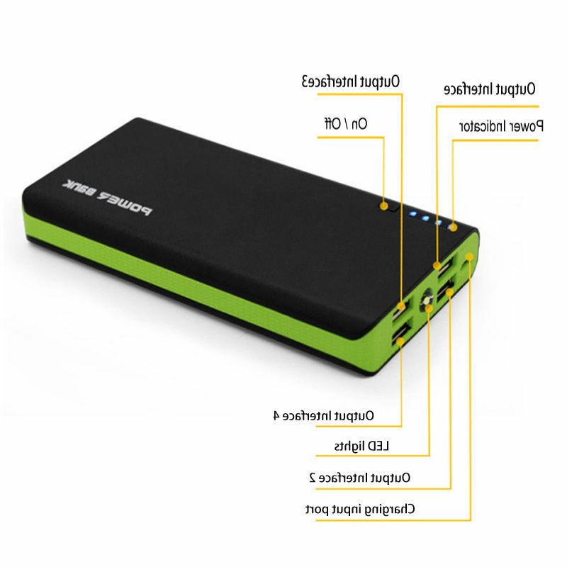 POWERNEWS 4 USB Power Bank LED External Backup Battery Phone