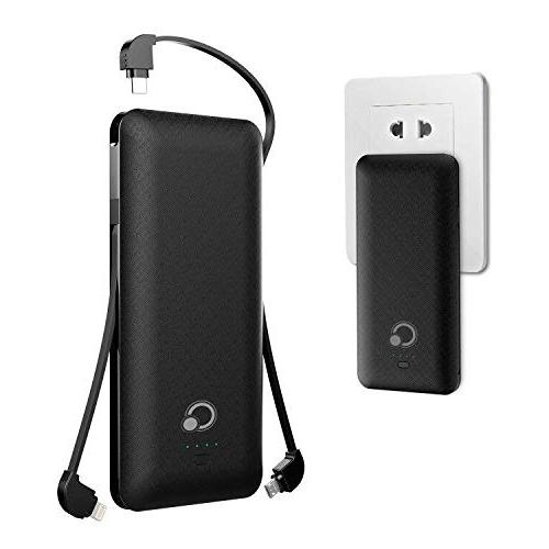 10000mAh Bank Portable Charger External Battery Pack with Micro Tpye C Kinds Cable AC Wall for