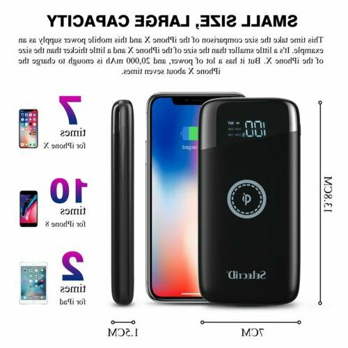 Qi Fast Power Bank Portable Battery Charger Dual USB + Type-C