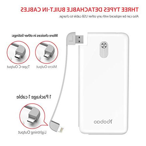 Yoobao Charger, 5000mAh Bank Battery Pack Backup Charger Powerbank Built-in Cable iPhone More - White