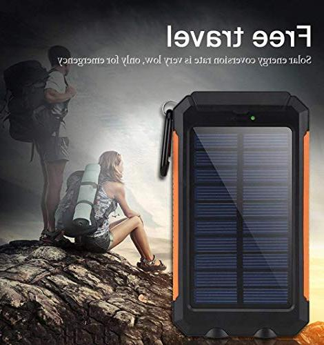 Solar Chargers 30,000mAh, Portable USB Solar Battery Pack Phone Bank with Flashlight for Smartphones