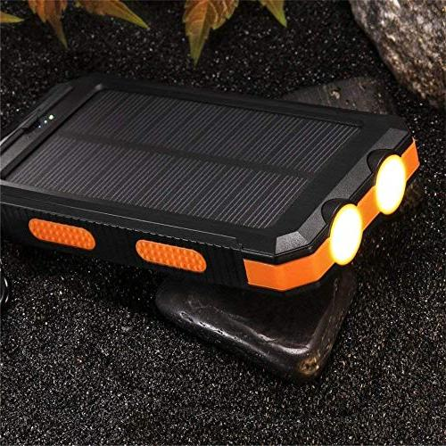 Solar 30,000mAh, LMS Portable Dual USB Battery External Pack Charger Bank with Flashlight Smartphones Tablet Camera