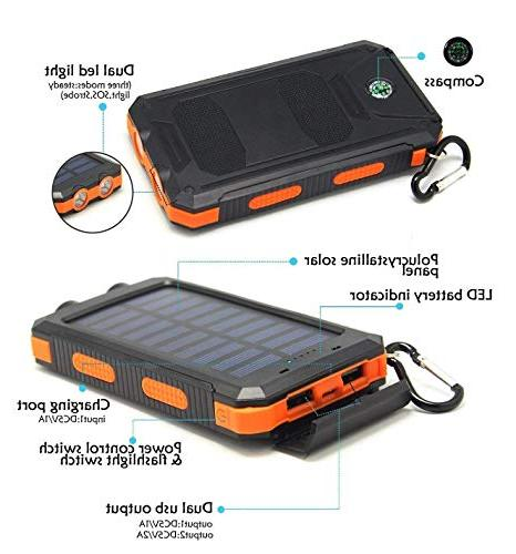 Solar Portable Dual USB Battery Charger External Pack Smartphones Camera