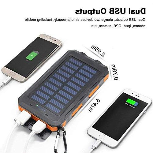 Solar Portable Battery Charger Pack Phone Charger Bank with Flashlight Smartphones Tablet