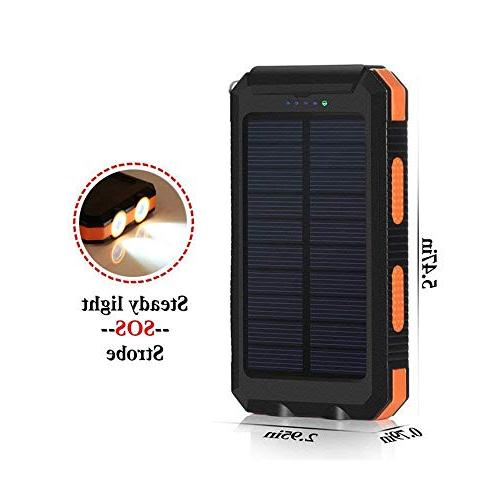 Solar Chargers 30,000mAh, LMS Portable USB Battery External Pack Bank with Flashlight for Smartphones