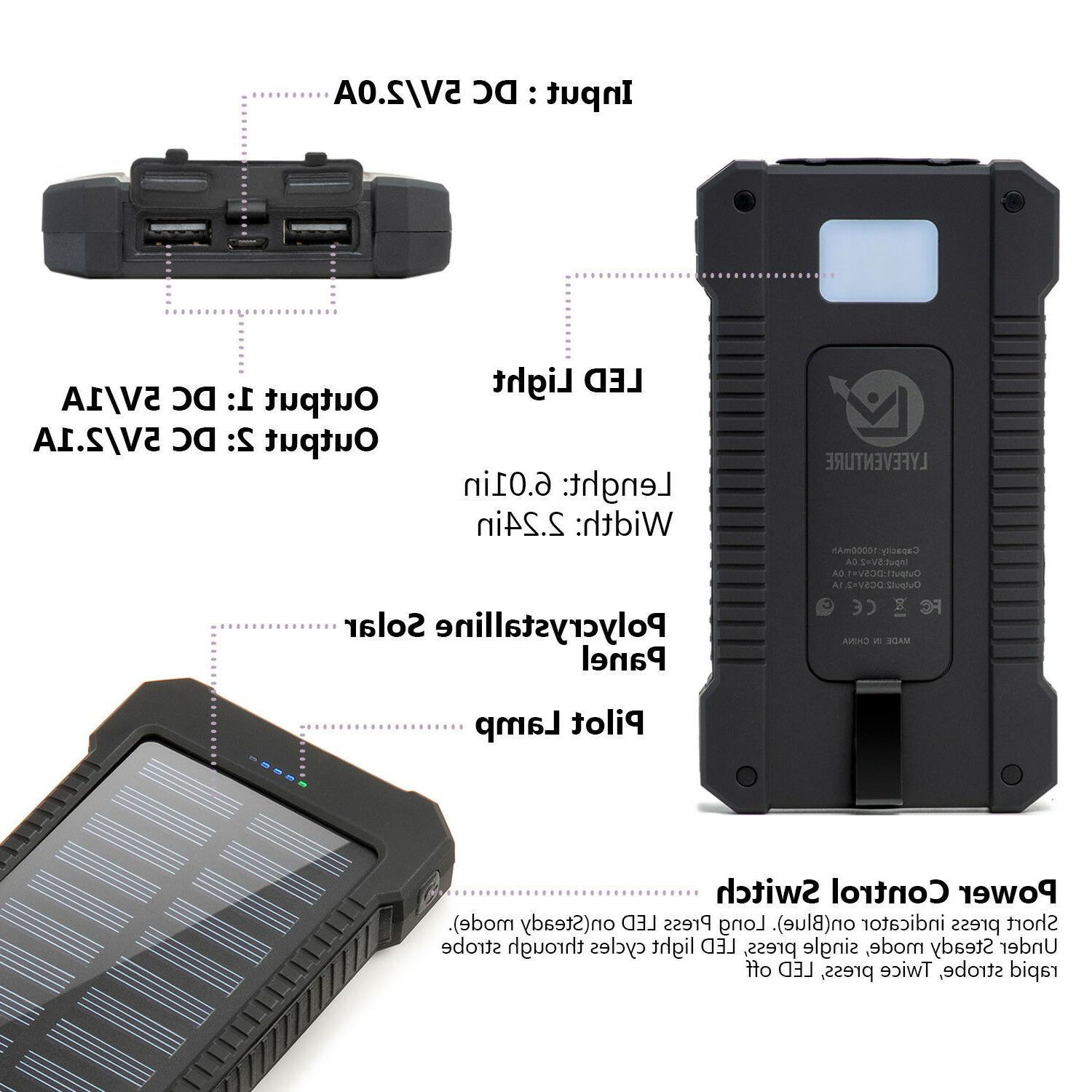 Solar Power Bank Dual USB Waterproof Outdoor Battery Backpack Charger