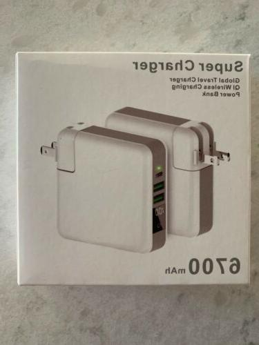 travel charger power bank 6700mah wireless fast