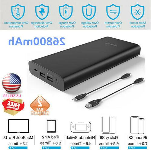 usb c portable charger 26800mah external battery