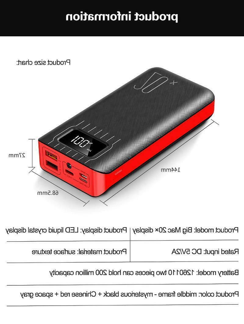 USB 20000mAh Display Mi9 Samsung External Battery