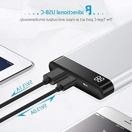 POWERADD Virgo 10000mAh Portable Charger USB-C Power with iPhone, Nintendo Switch, Nexus, and More Silver